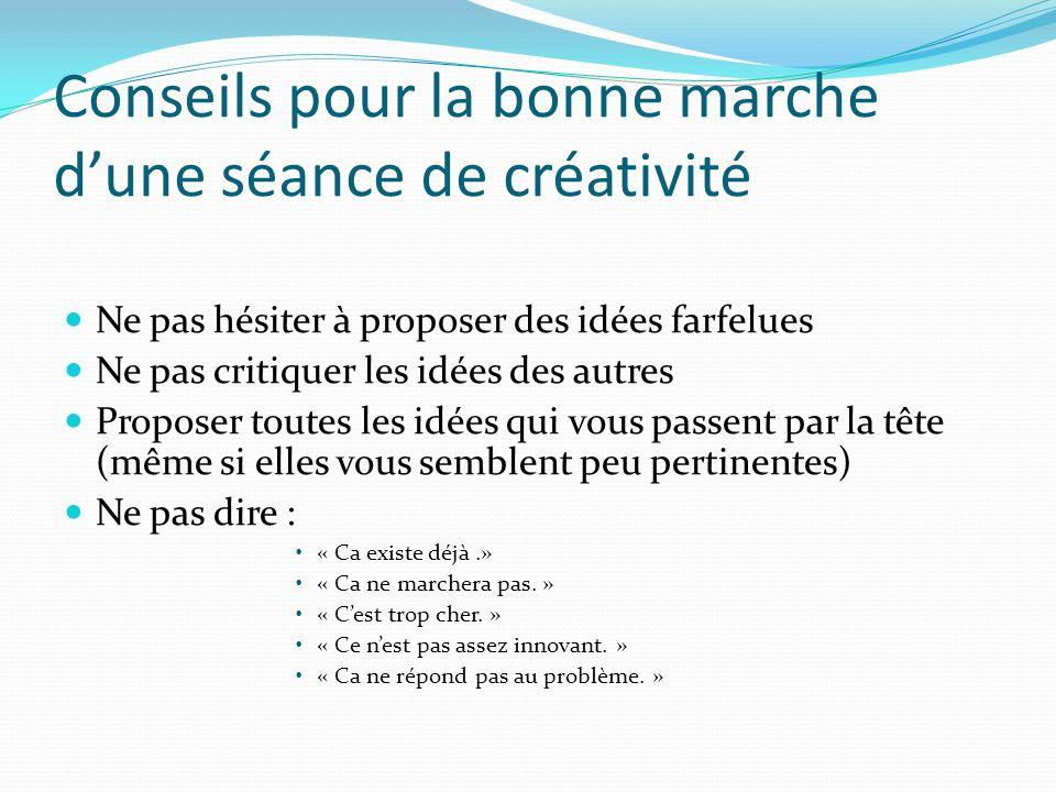 Conseils pour la bonne marche dune séance de créativité Ne pas hésiter à proposer des idées farfelues Ne pas critiquer les idées des autres Proposer t