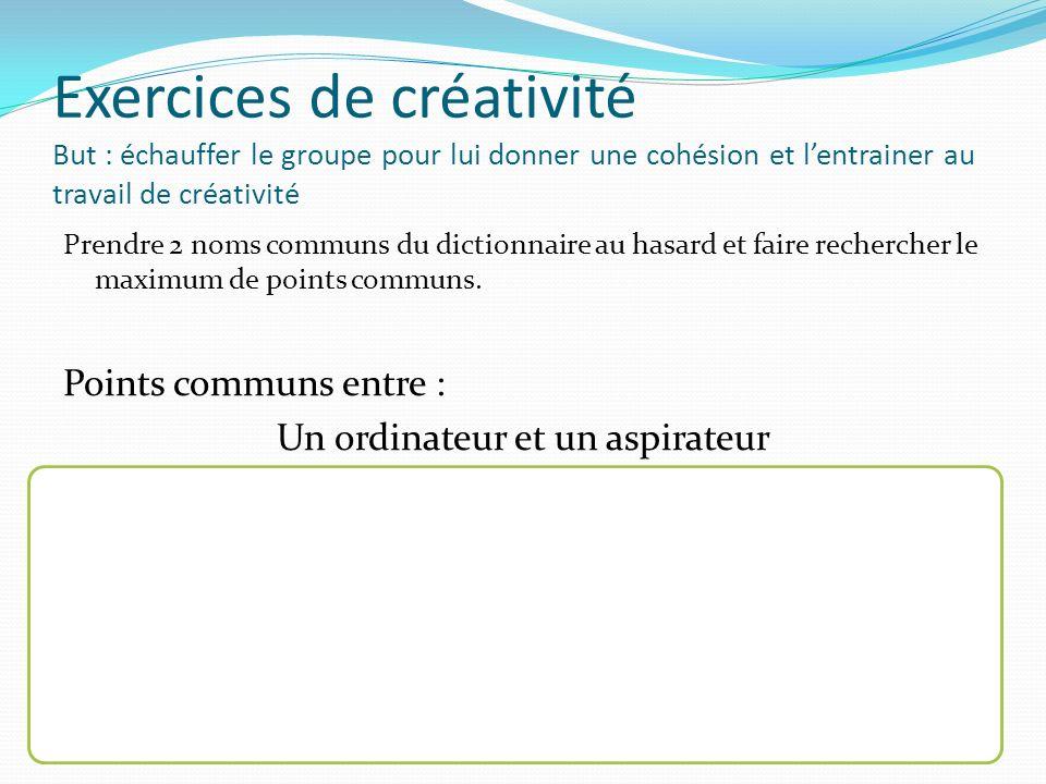 Exercices de créativité But : échauffer le groupe pour lui donner une cohésion et lentrainer au travail de créativité Prendre 2 noms communs du dictio
