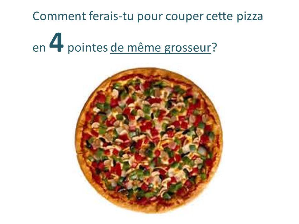 Comment ferais-tu pour couper cette pizza en 4 pointes de même grosseur