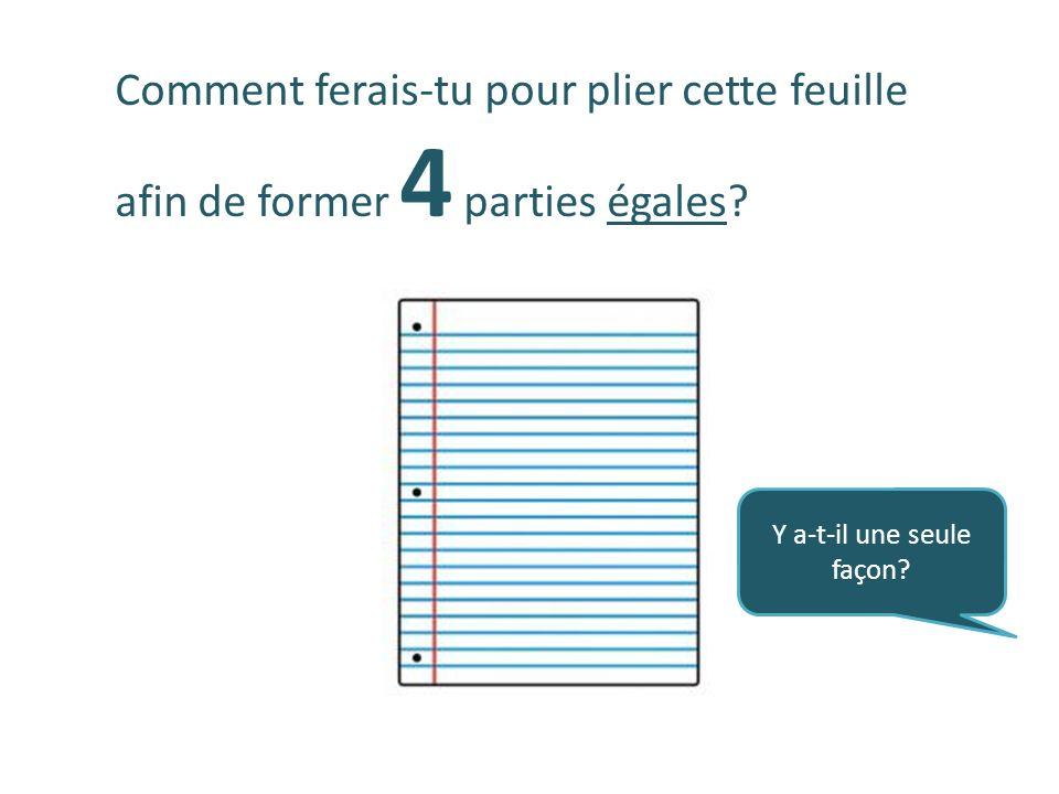 Comment ferais-tu pour plier cette feuille afin de former 4 parties égales? Y a-t-il une seule façon?
