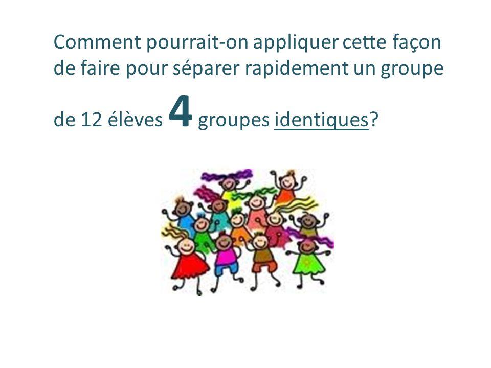Comment pourrait-on appliquer cette façon de faire pour séparer rapidement un groupe de 12 élèves 4 groupes identiques