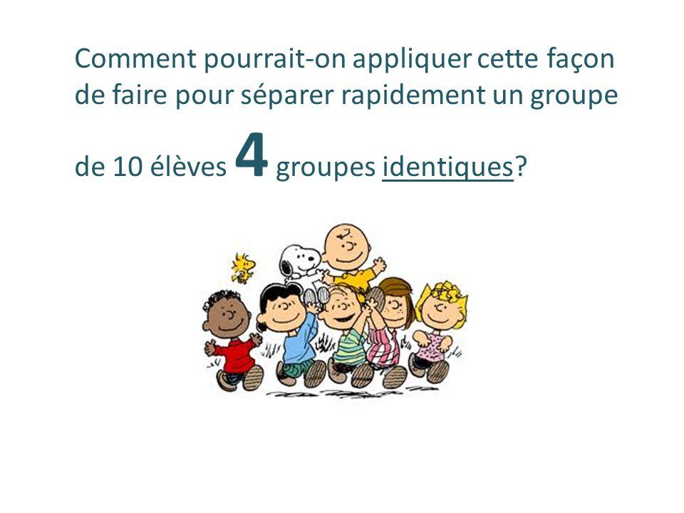 Comment pourrait-on appliquer cette façon de faire pour séparer rapidement un groupe de 10 élèves 4 groupes identiques