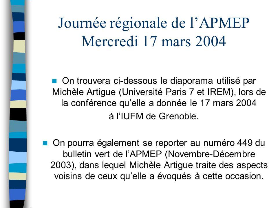 Journée régionale de lAPMEP Mercredi 17 mars 2004 On trouvera ci-dessous le diaporama utilisé par Michèle Artigue (Université Paris 7 et IREM), lors de la conférence quelle a donnée le 17 mars 2004 à lIUFM de Grenoble.