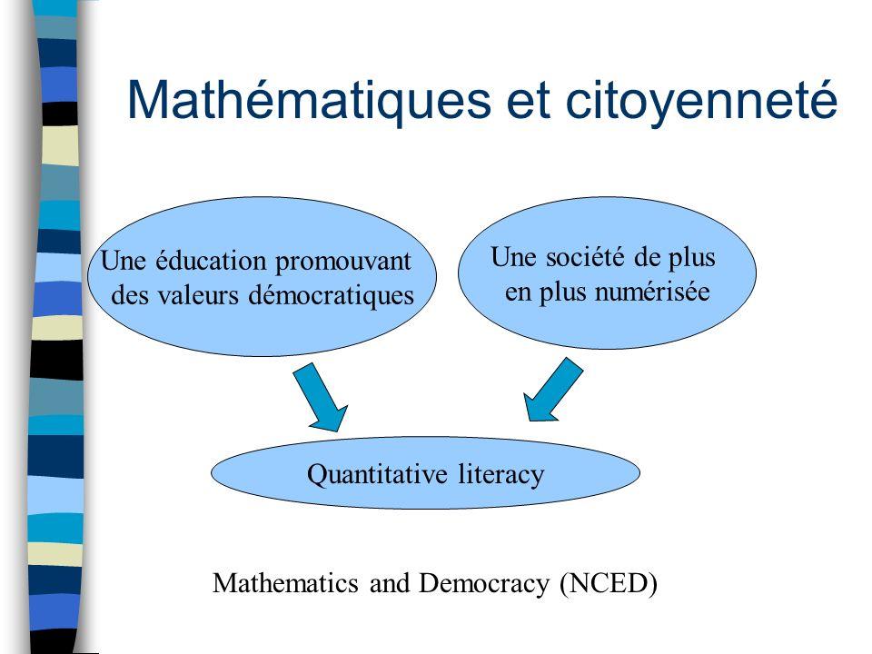 Mathématiques et citoyenneté Une éducation promouvant des valeurs démocratiques Une société de plus en plus numérisée Quantitative literacy Mathematics and Democracy (NCED)
