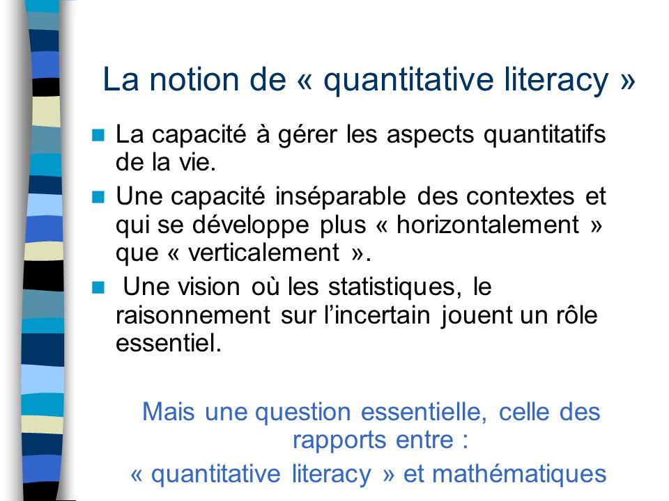 La notion de « quantitative literacy » La capacité à gérer les aspects quantitatifs de la vie.