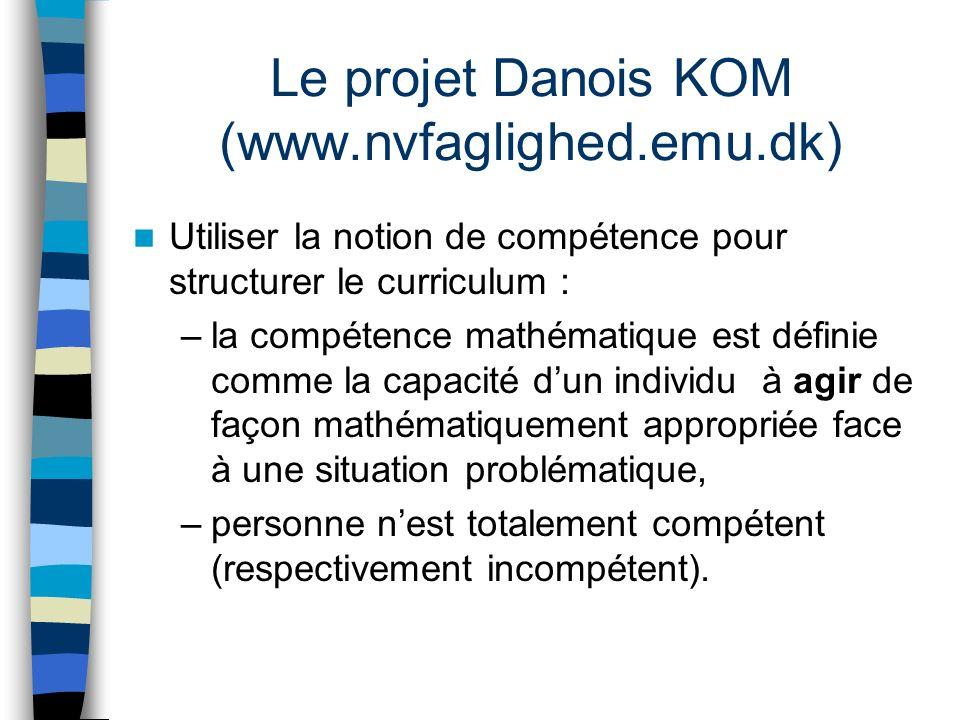 Le projet Danois KOM (www.nvfaglighed.emu.dk) Utiliser la notion de compétence pour structurer le curriculum : –la compétence mathématique est définie comme la capacité dun individu à agir de façon mathématiquement appropriée face à une situation problématique, –personne nest totalement compétent (respectivement incompétent).