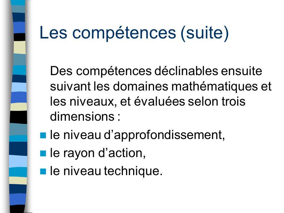 Les compétences (suite) Des compétences déclinables ensuite suivant les domaines mathématiques et les niveaux, et évaluées selon trois dimensions : le niveau dapprofondissement, le rayon daction, le niveau technique.