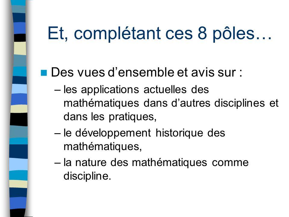 Et, complétant ces 8 pôles… Des vues densemble et avis sur : –les applications actuelles des mathématiques dans dautres disciplines et dans les pratiques, –le développement historique des mathématiques, –la nature des mathématiques comme discipline.