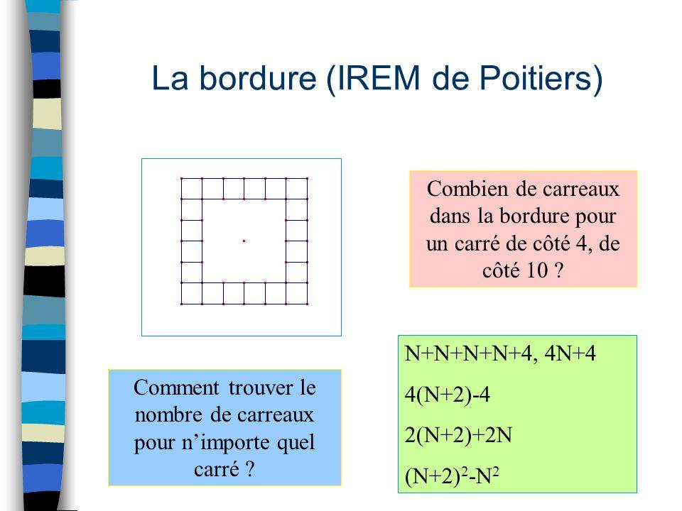 La bordure (IREM de Poitiers) Combien de carreaux dans la bordure pour un carré de côté 4, de côté 10 .