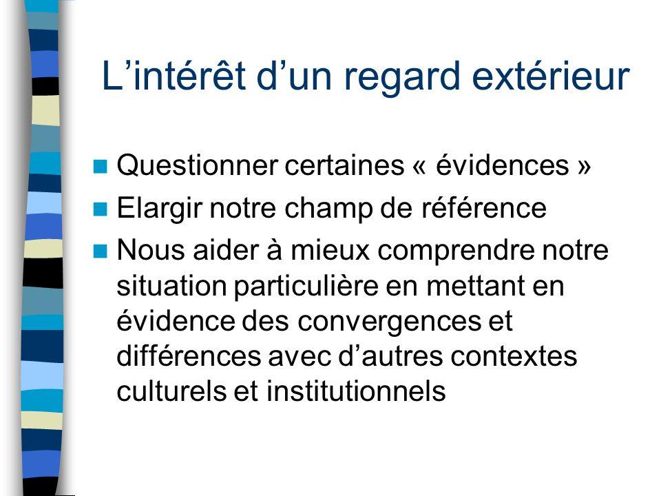 Lintérêt dun regard extérieur Questionner certaines « évidences » Elargir notre champ de référence Nous aider à mieux comprendre notre situation particulière en mettant en évidence des convergences et différences avec dautres contextes culturels et institutionnels