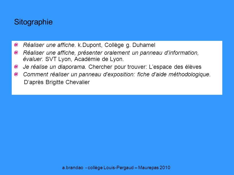 Sitographie Réaliser une affiche.k.Dupont, Collège g.