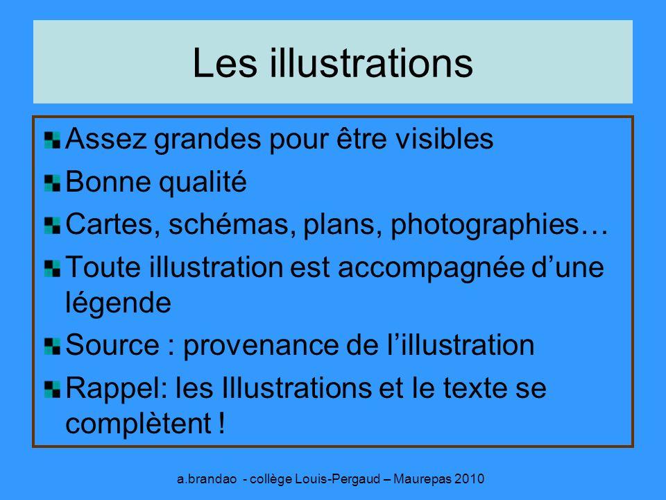 Composition Faire un brouillon de mise en page au préalable Ne pas surcharger le panneau Exemples de présentation: a.brandao - collège Louis-Pergaud – Maurepas 2010