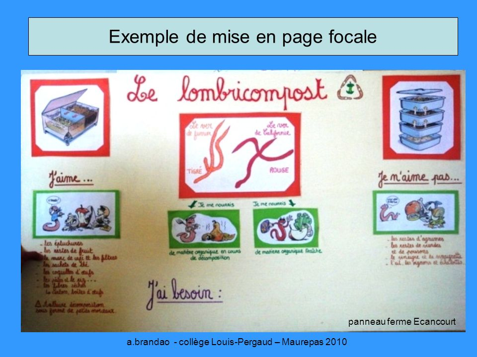 Exemple de mise en page focale panneau ferme Ecancourt a.brandao - collège Louis-Pergaud – Maurepas 2010
