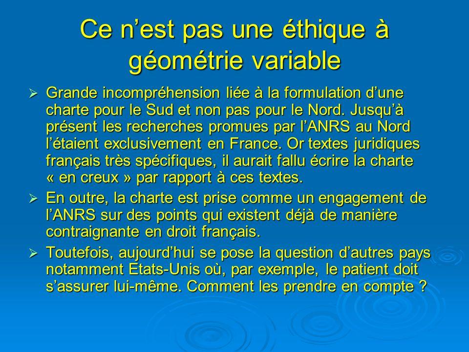 Ce nest pas une éthique à géométrie variable Grande incompréhension liée à la formulation dune charte pour le Sud et non pas pour le Nord.
