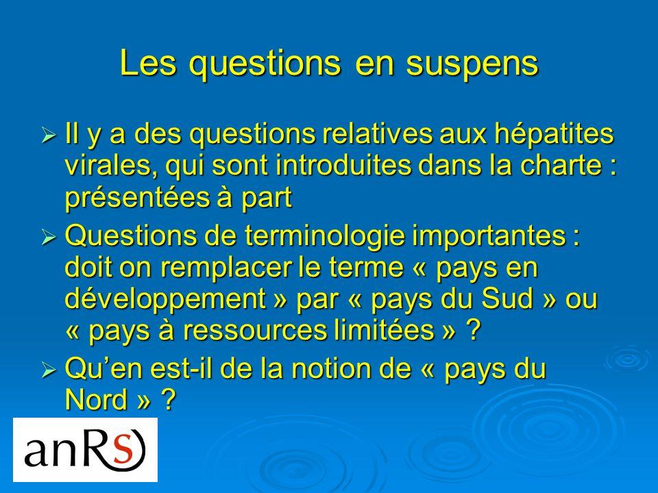 Les questions en suspens Il y a des questions relatives aux hépatites virales, qui sont introduites dans la charte : présentées à part Il y a des ques