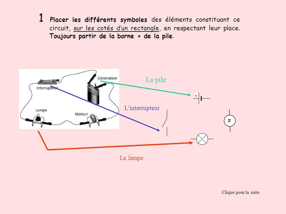 sur les cotés dun rectangle 1 Placer les différents symboles des éléments constituant ce circuit, sur les cotés dun rectangle, en respectant leur plac