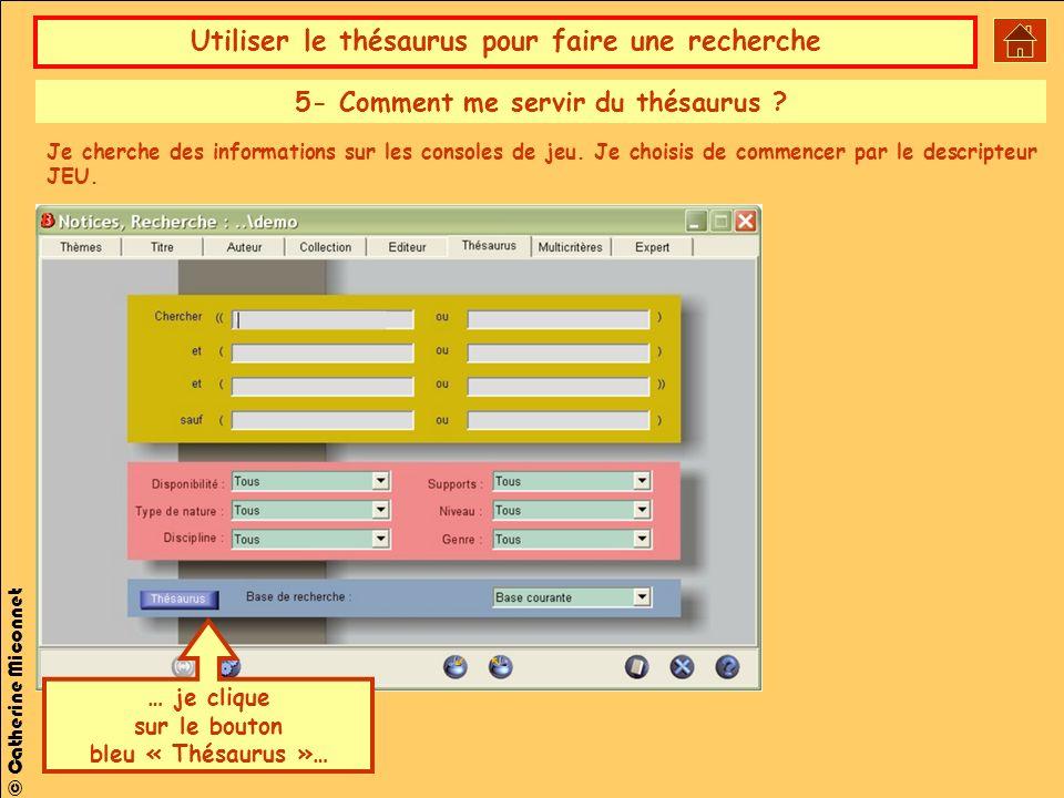 Utiliser le thésaurus pour faire une recherche © Catherine Miconnet … je clique sur le bouton bleu « Thésaurus »… 5- Comment me servir du thésaurus .