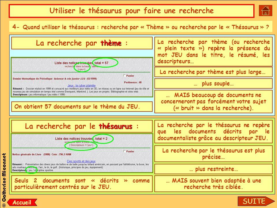 Utiliser le thésaurus pour faire une recherche © Catherine Miconnet 4- Quand utiliser le thésaurus : recherche par « Thème » ou recherche par le « Thésaurus » .