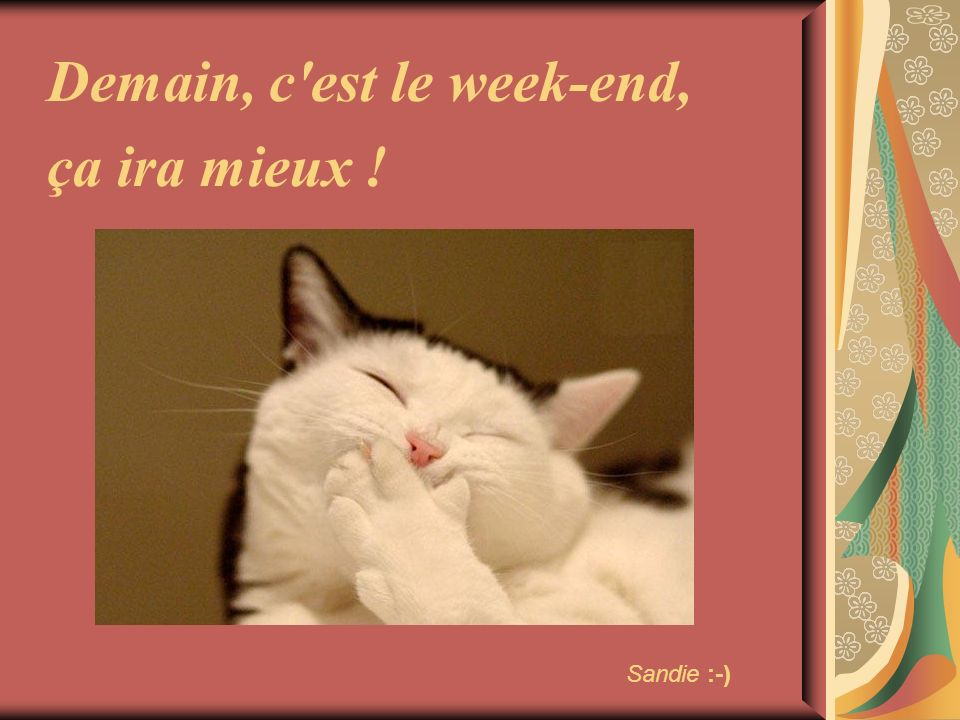 Demain, c'est le week-end, ça ira mieux ! Sandie :-)
