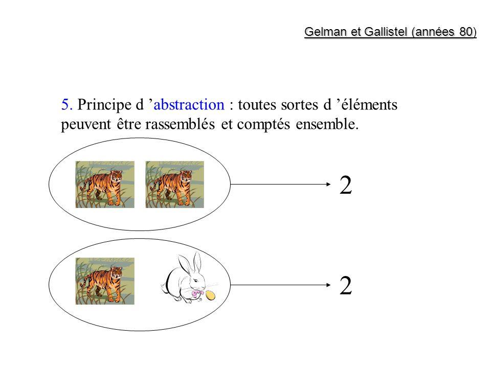 5. Principe d abstraction : toutes sortes d éléments peuvent être rassemblés et comptés ensemble. 2 2 Gelman et Gallistel (années 80 Gelman et Gallist