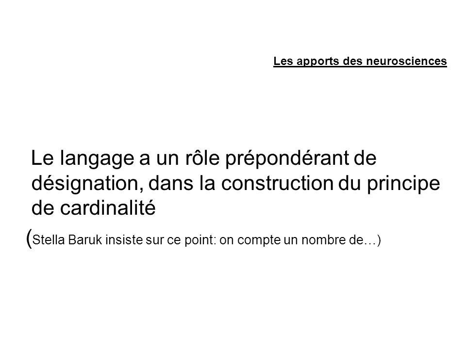 Le langage a un rôle prépondérant de désignation, dans la construction du principe de cardinalité ( Stella Baruk insiste sur ce point: on compte un nombre de…)