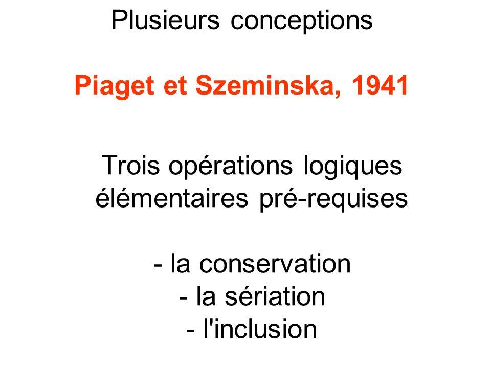Plusieurs conceptions Piaget et Szeminska, 1941 Trois opérations logiques élémentaires pré-requises - la conservation - la sériation - l'inclusion