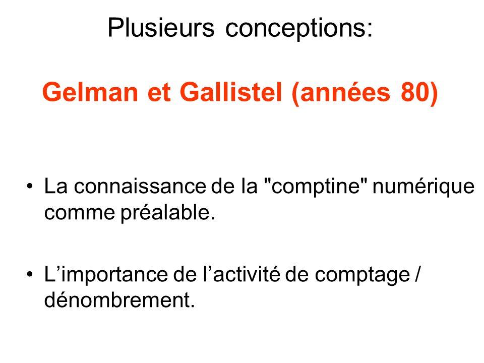 Plusieurs conceptions: Gelman et Gallistel (années 80) La connaissance de la comptine numérique comme préalable.