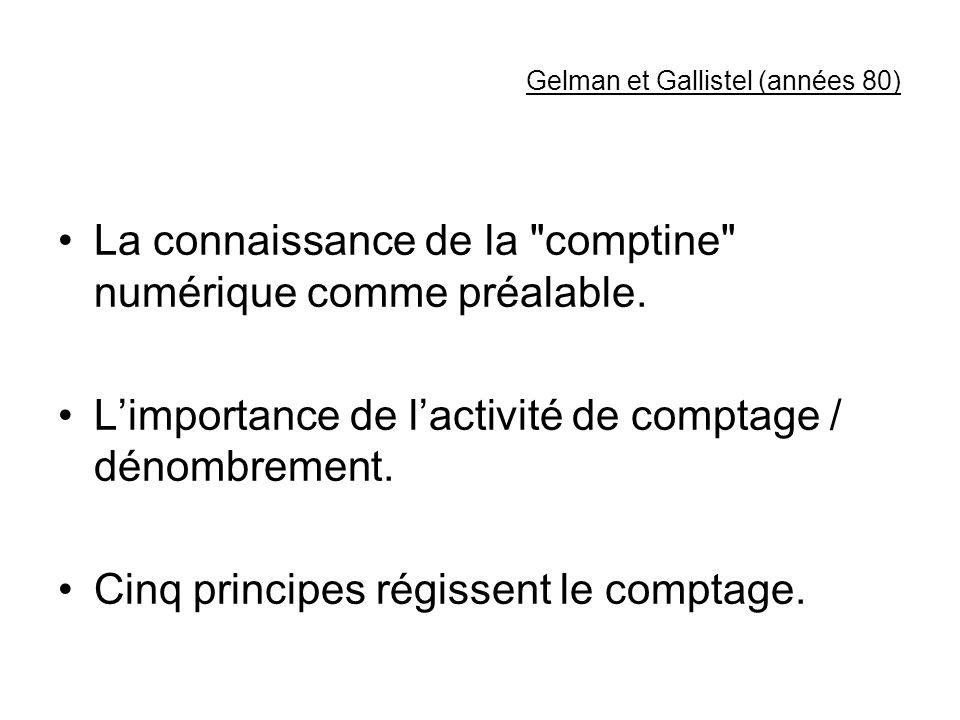 Gelman et Gallistel (années 80) La connaissance de la comptine numérique comme préalable.
