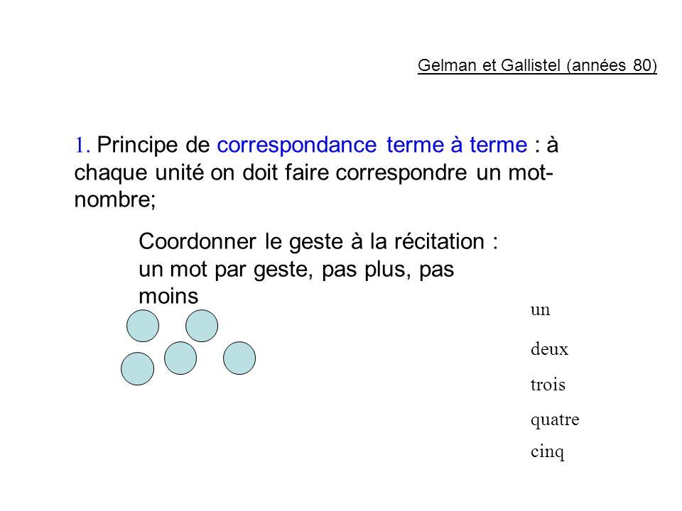 1. Principe de correspondance terme à terme : à chaque unité on doit faire correspondre un mot- nombre; Coordonner le geste à la récitation : un mot p