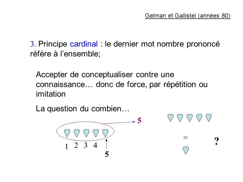 3. Principe cardinal : le dernier mot nombre prononcé réfère à lensemble; Accepter de conceptualiser contre une connaissance… donc de force, par répét