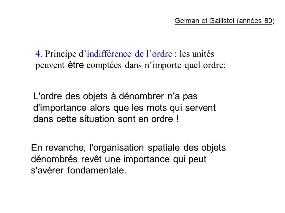 4. Principe dindifférence de lordre : les unités peuvent être comptées dans nimporte quel ordre; L'ordre des objets à dénombrer n'a pas d'importance a