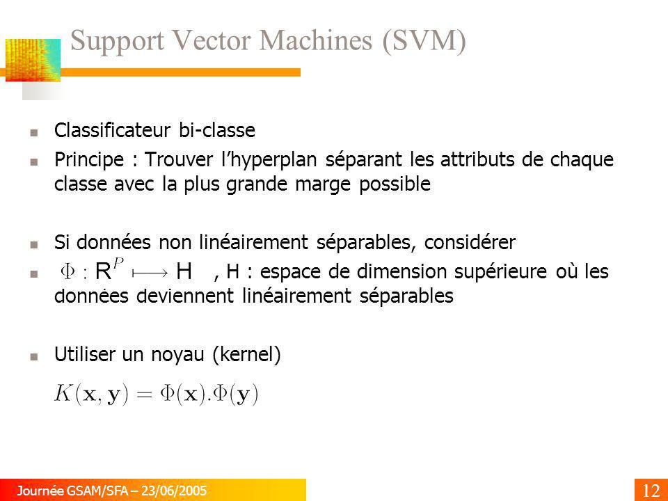 12 Journée GSAM/SFA – 23/06/2005 Support Vector Machines (SVM) Classificateur bi-classe Principe : Trouver lhyperplan séparant les attributs de chaque
