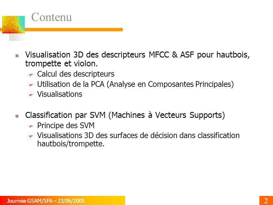 2 Journée GSAM/SFA – 23/06/2005 Contenu Visualisation 3D des descripteurs MFCC & ASF pour hautbois, trompette et violon. Calcul des descripteurs Utili