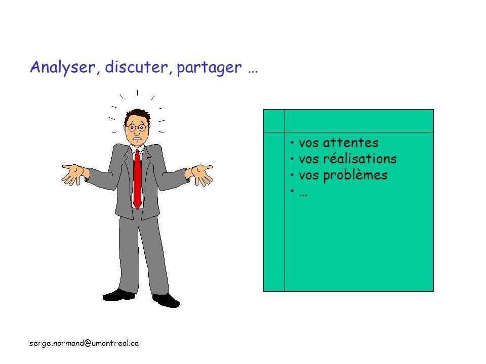 serge.normand@umontreal.ca Analyser, discuter, partager … vos attentes vos réalisations vos problèmes …