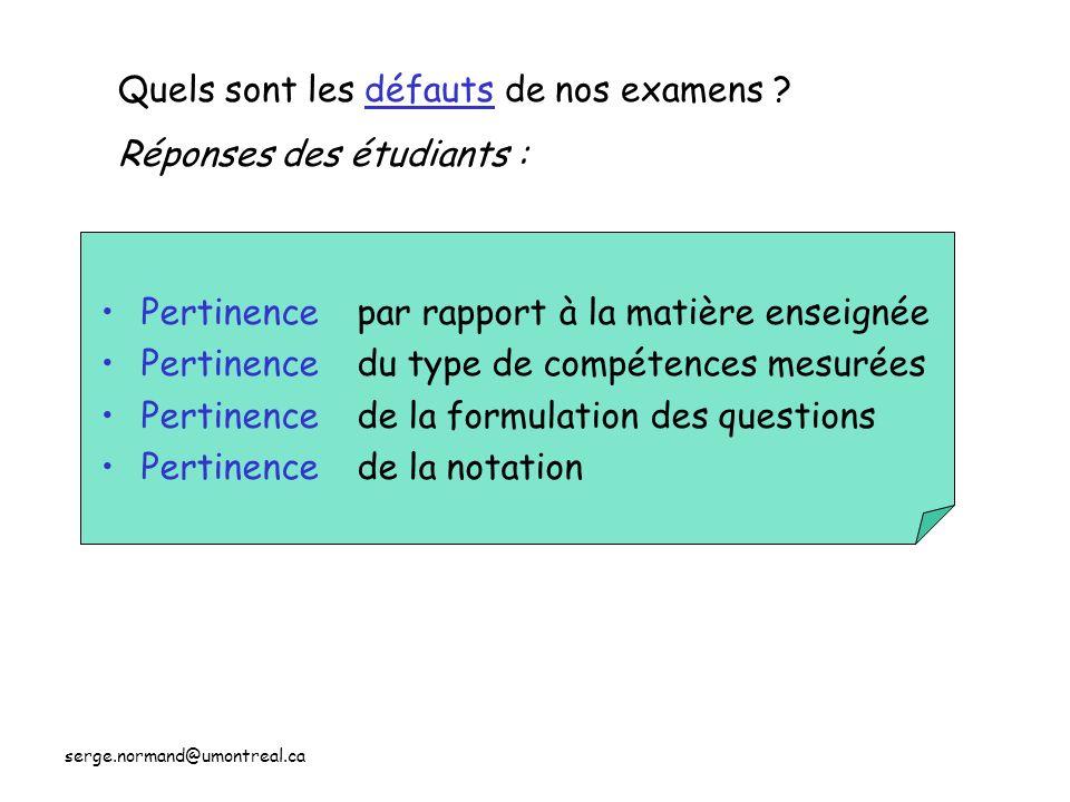 serge.normand@umontreal.ca Pertinence par rapport à la matière enseignée du type de compétences mesurées de la formulation des questions de la notatio