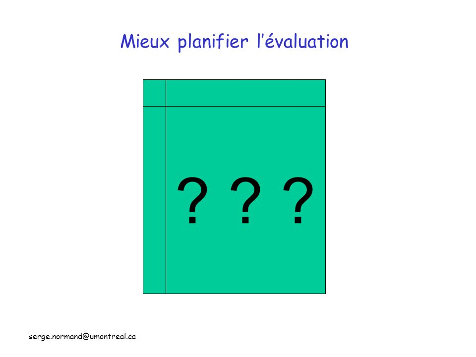 serge.normand@umontreal.ca Mieux planifier lévaluation ? ? ?