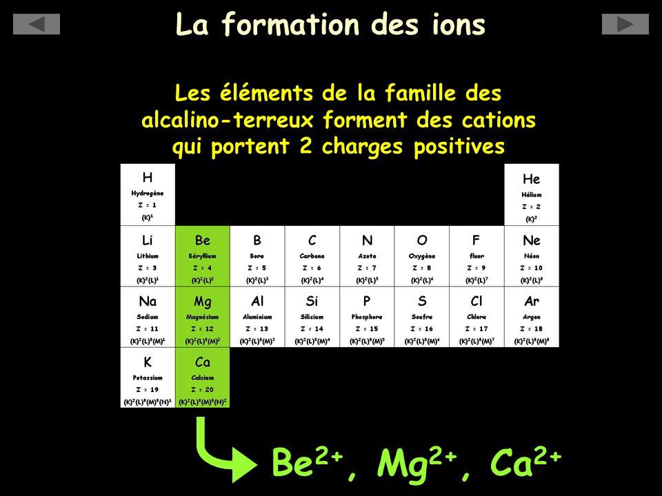 La formation des ions Be 2+, Mg 2+, Ca 2+ Les éléments de la famille des alcalino-terreux forment des cations qui portent 2 charges positives