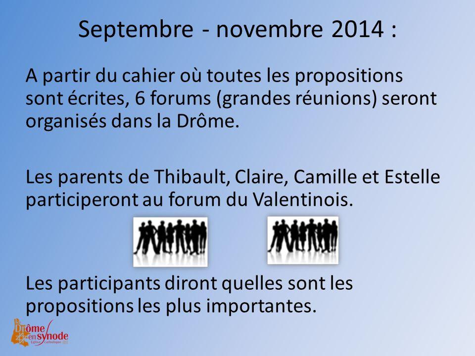 Septembre - novembre 2014 : A partir du cahier où toutes les propositions sont écrites, 6 forums (grandes réunions) seront organisés dans la Drôme. Le
