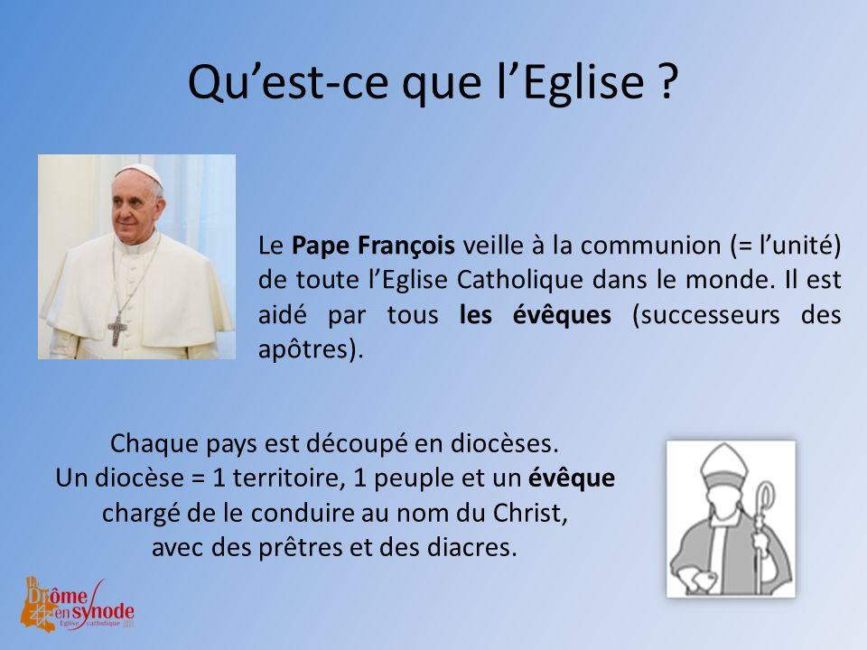 Le Pape François veille à la communion (= lunité) de toute lEglise Catholique dans le monde. Il est aidé par tous les évêques (successeurs des apôtres