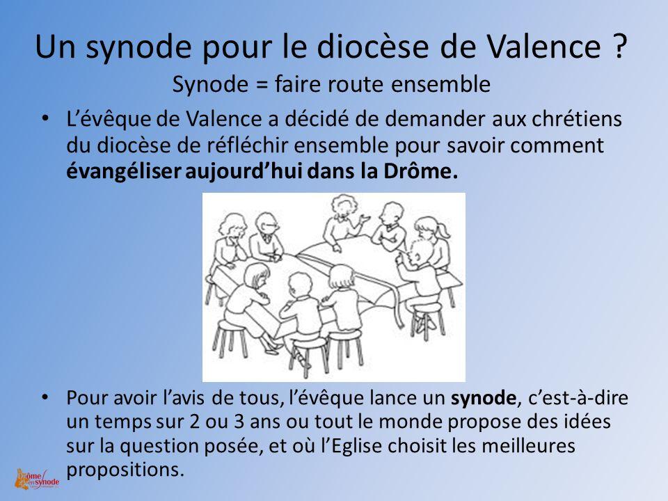 Un synode pour le diocèse de Valence ? Synode = faire route ensemble Lévêque de Valence a décidé de demander aux chrétiens du diocèse de réfléchir ens