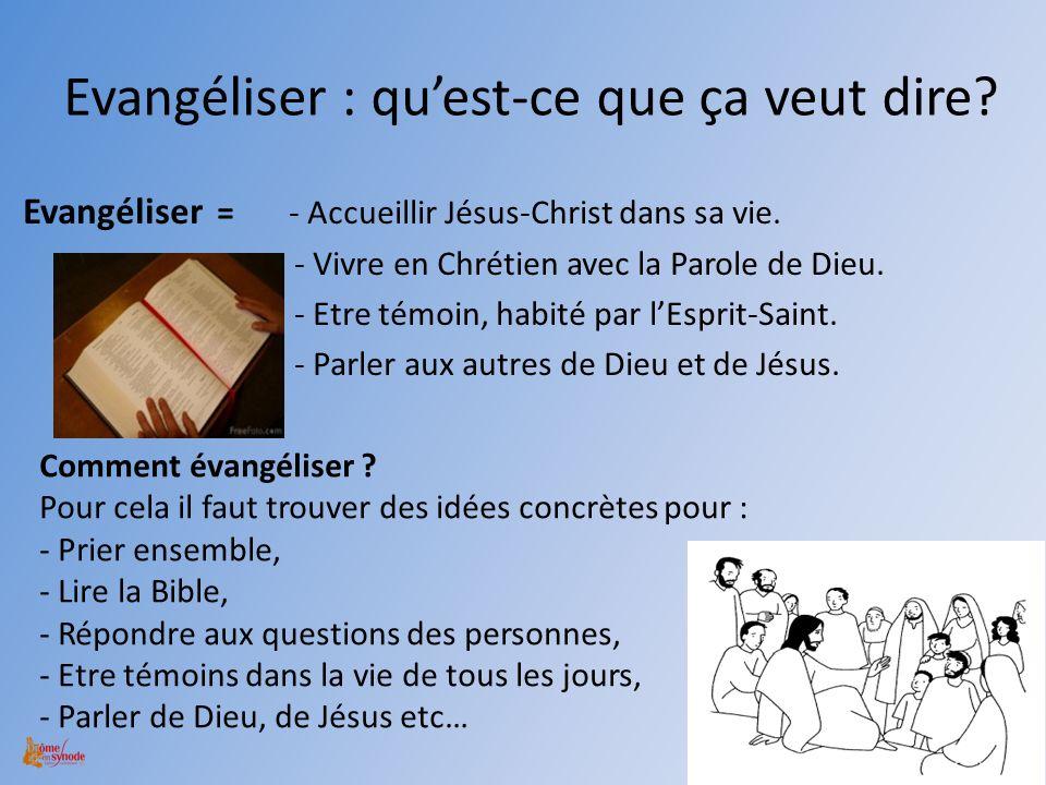 Evangéliser : quest-ce que ça veut dire? Evangéliser = - Accueillir Jésus-Christ dans sa vie. - Vivre en Chrétien avec la Parole de Dieu. - Etre témoi