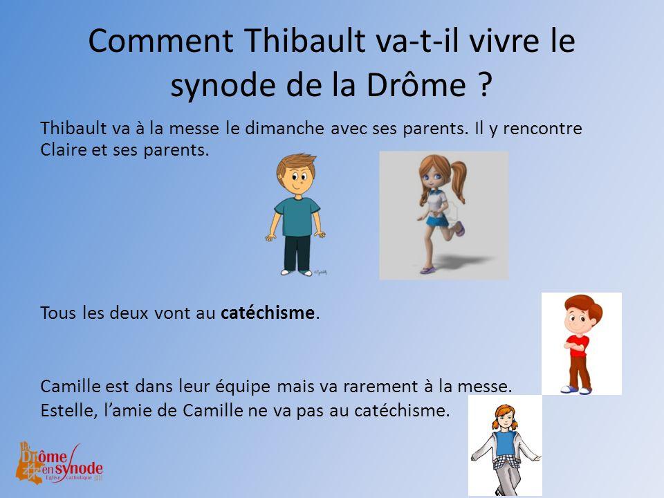 Comment Thibault va-t-il vivre le synode de la Drôme ? Thibault va à la messe le dimanche avec ses parents. Il y rencontre Claire et ses parents. Tous