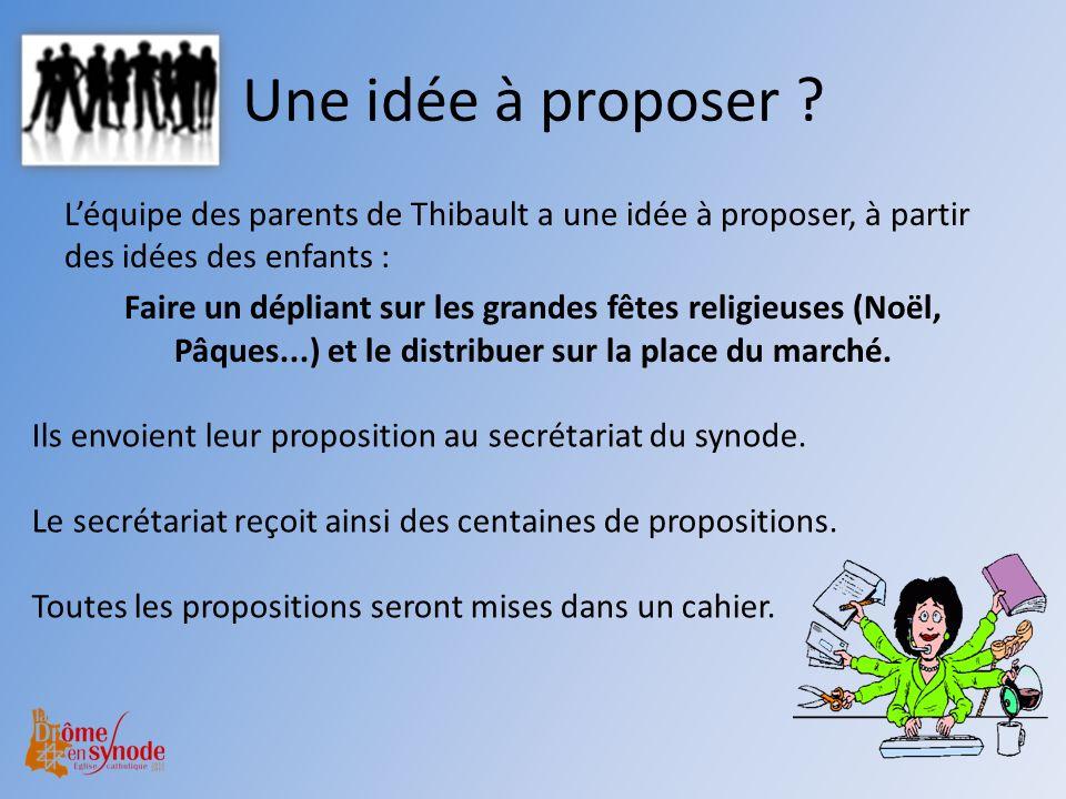 Une idée à proposer ? Léquipe des parents de Thibault a une idée à proposer, à partir des idées des enfants : Faire un dépliant sur les grandes fêtes