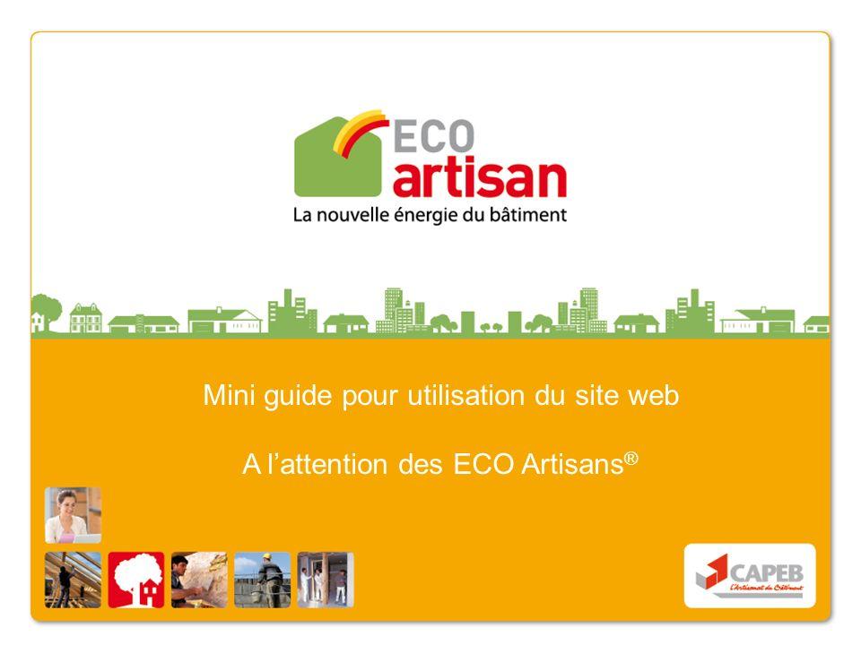 Mini guide pour utilisation du site web A lattention des ECO Artisans ®
