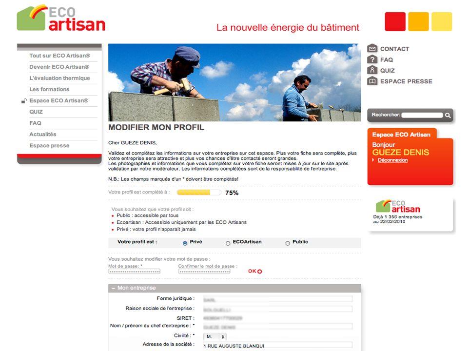 Site ECO Artisan – mini guide dutilisation