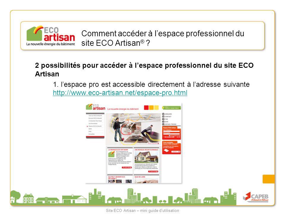 Comment accéder à lespace professionnel du site ECO Artisan ® ? 2 possibilités pour accéder à lespace professionnel du site ECO Artisan 1. lespace pro