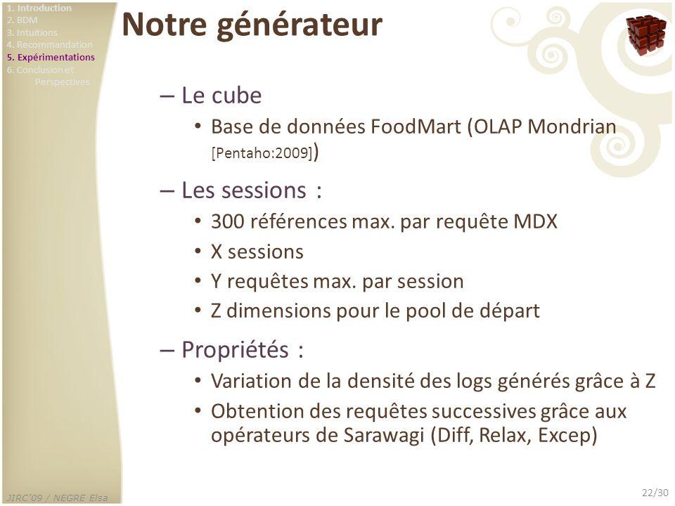 JIRC09 / NEGRE Elsa 22/30 Notre générateur – Le cube Base de données FoodMart (OLAP Mondrian [Pentaho:2009] ) – Les sessions : 300 références max. par