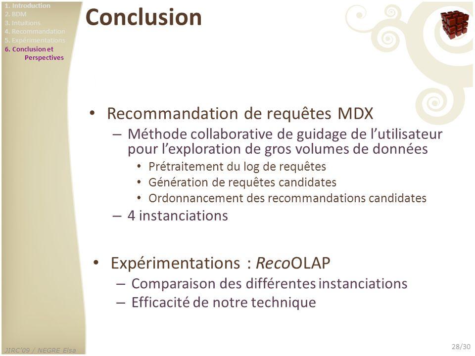 JIRC09 / NEGRE Elsa 28/30 Conclusion Recommandation de requêtes MDX – Méthode collaborative de guidage de lutilisateur pour lexploration de gros volum