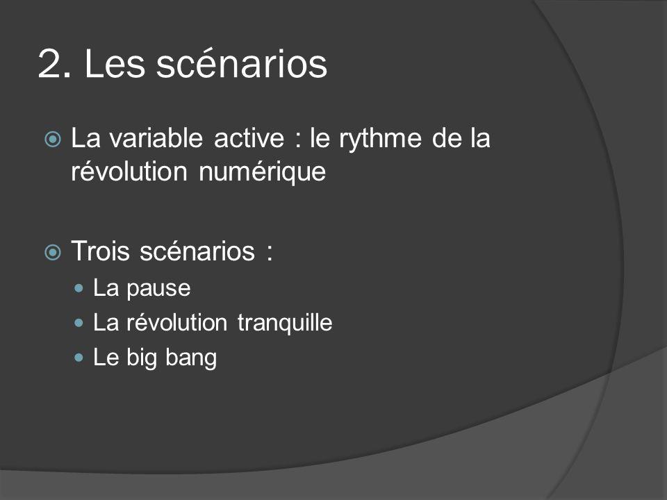 2. Les scénarios La variable active : le rythme de la révolution numérique Trois scénarios : La pause La révolution tranquille Le big bang