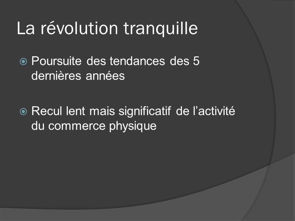 La révolution tranquille Poursuite des tendances des 5 dernières années Recul lent mais significatif de lactivité du commerce physique